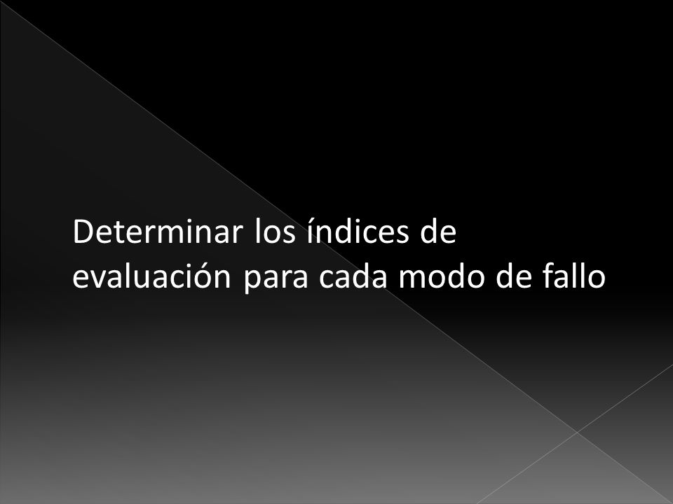 Determinar los índices de evaluación para cada modo de fallo