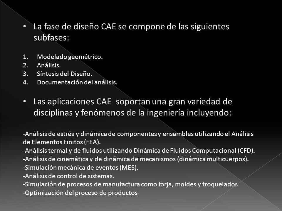 La fase de diseño CAE se compone de las siguientes subfases: