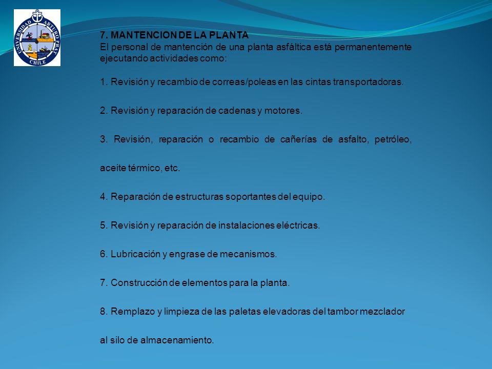 7. MANTENCION DE LA PLANTA