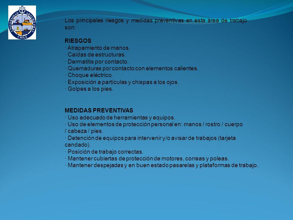 Los principales riesgos y medidas preventivas en esta área de trabajo son: