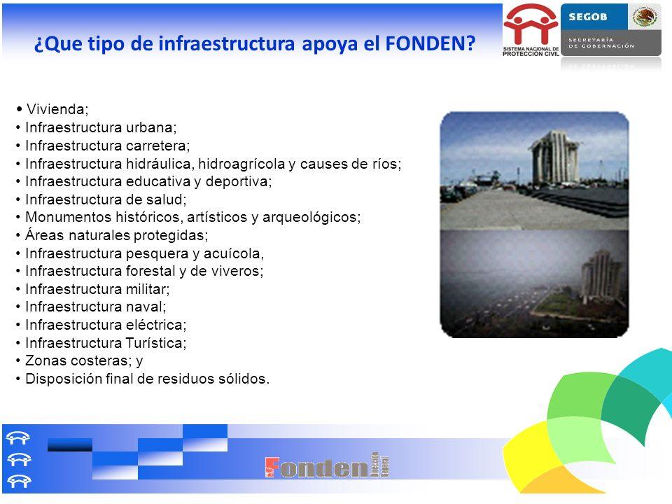 ¿Que tipo de infraestructura apoya el FONDEN