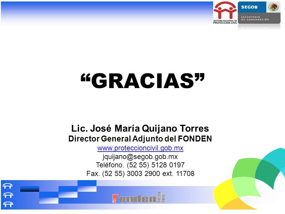 Lic. José María Quijano Torres Director General Adjunto del FONDEN