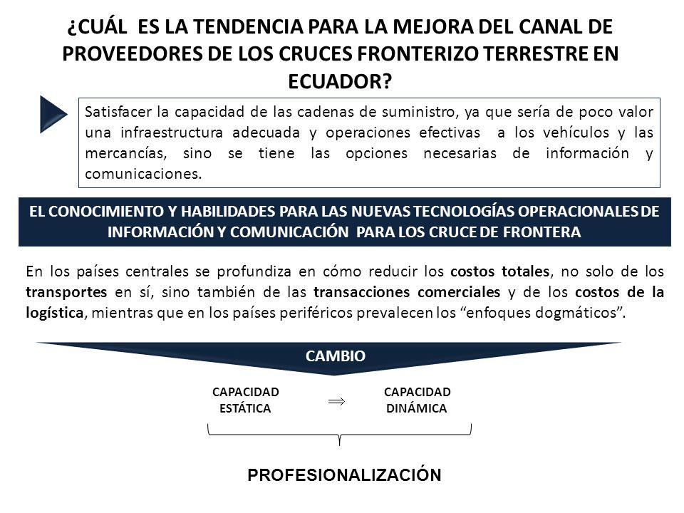 ¿CUÁL ES LA TENDENCIA PARA LA MEJORA DEL CANAL DE PROVEEDORES DE LOS CRUCES FRONTERIZO TERRESTRE EN ECUADOR