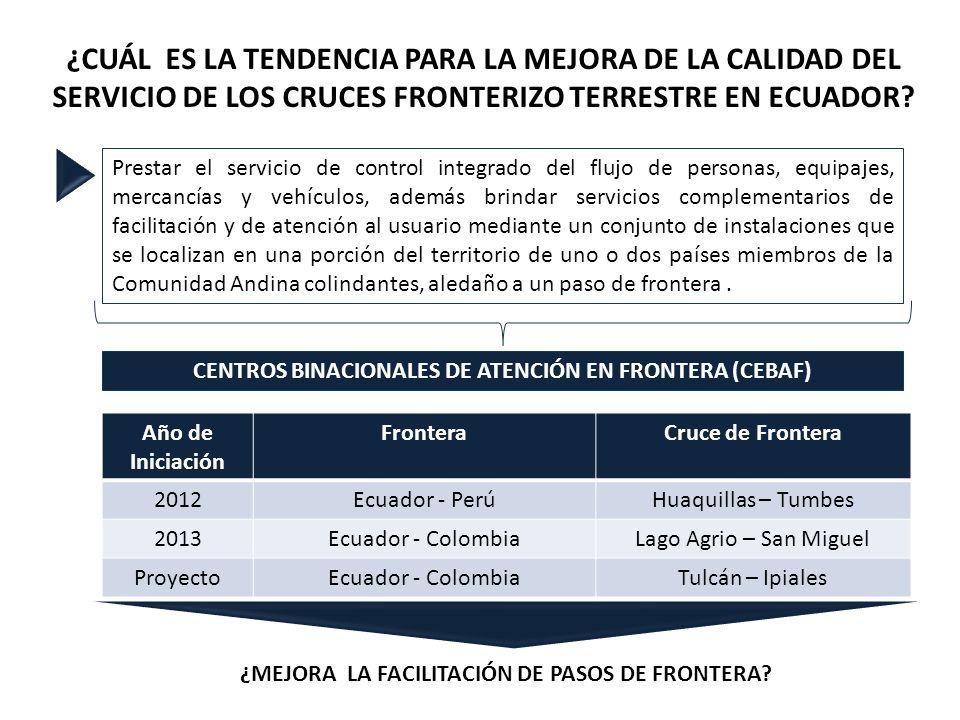 CENTROS BINACIONALES DE ATENCIÓN EN FRONTERA (CEBAF)