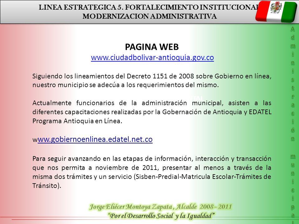 PAGINA WEB LINEA ESTRATEGICA 5. FORTALECIMIENTO INSTITUCIONAL