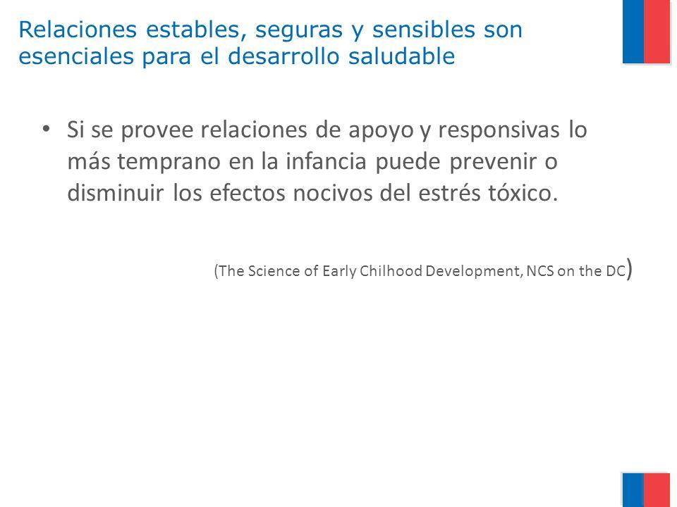 Relaciones estables, seguras y sensibles son esenciales para el desarrollo saludable