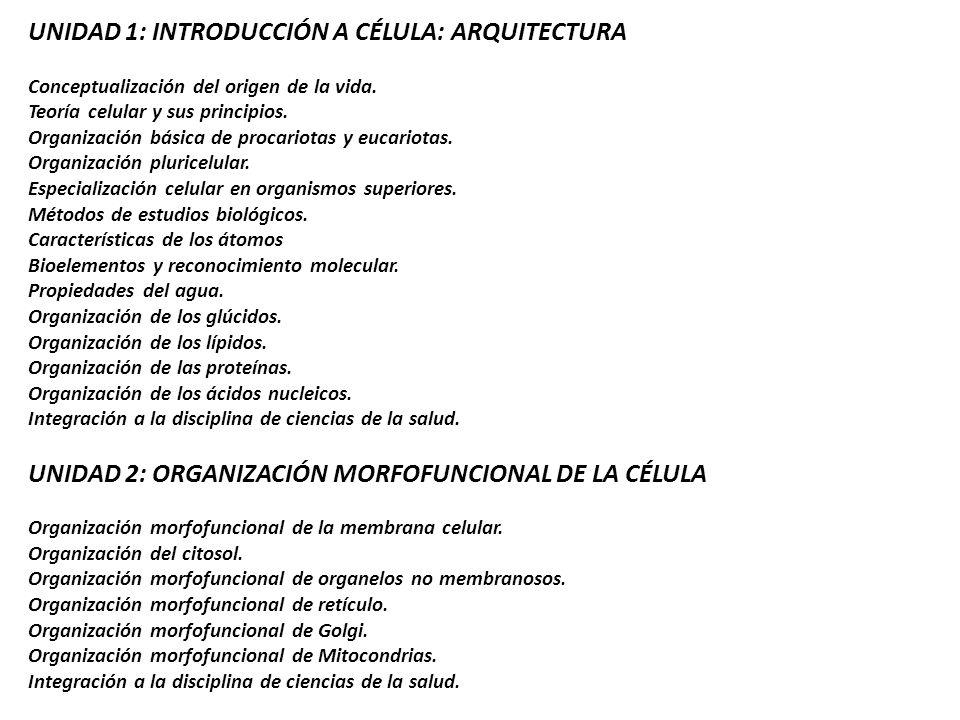 UNIDAD 1: INTRODUCCIÓN A CÉLULA: ARQUITECTURA