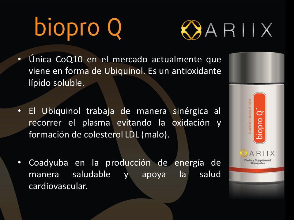 Única CoQ10 en el mercado actualmente que viene en forma de Ubiquinol