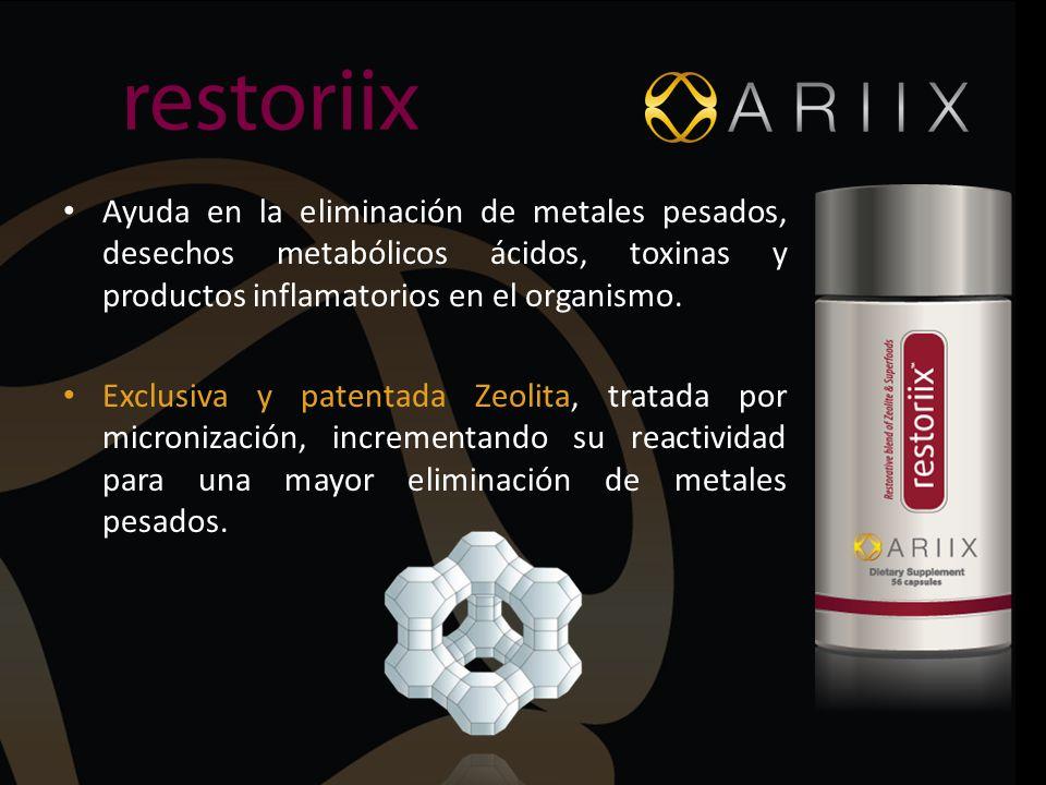 Ayuda en la eliminación de metales pesados, desechos metabólicos ácidos, toxinas y productos inflamatorios en el organismo.