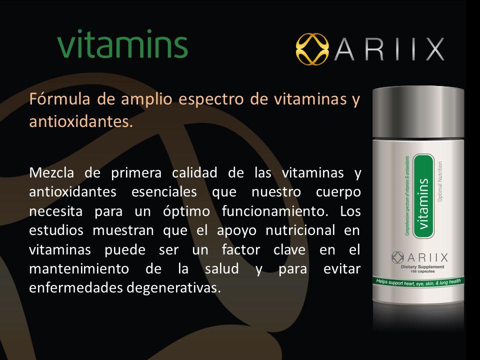 Fórmula de amplio espectro de vitaminas y antioxidantes.