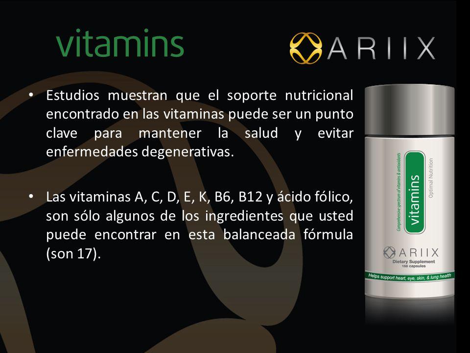 Estudios muestran que el soporte nutricional encontrado en las vitaminas puede ser un punto clave para mantener la salud y evitar enfermedades degenerativas.