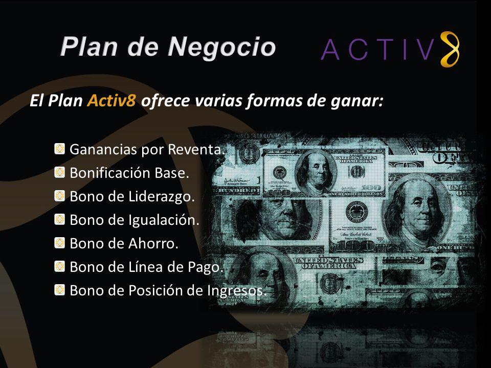Plan de Negocio El Plan Activ8 ofrece varias formas de ganar: