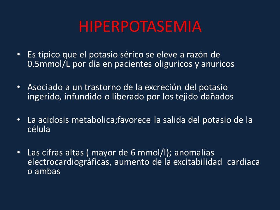 HIPERPOTASEMIA Es típico que el potasio sérico se eleve a razón de 0.5mmol/L por día en pacientes oliguricos y anuricos.