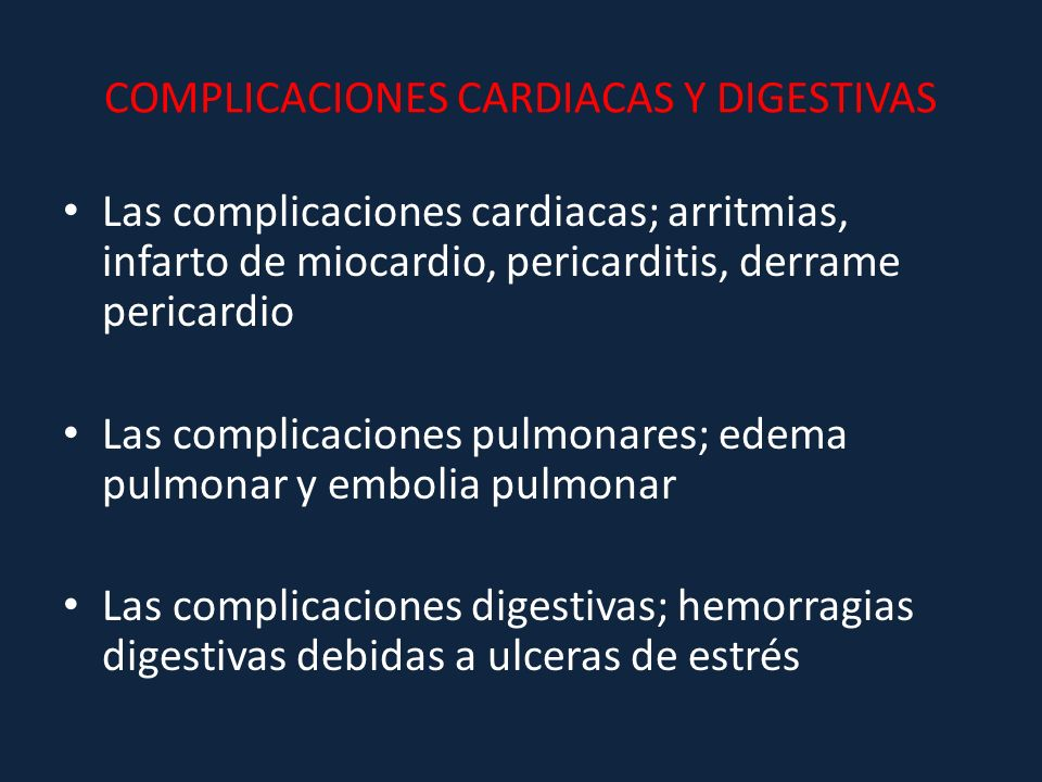 COMPLICACIONES CARDIACAS Y DIGESTIVAS