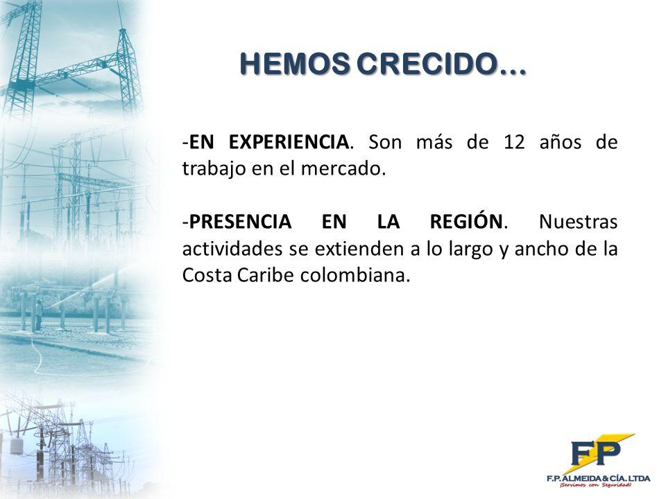 HEMOS CRECIDO… EN EXPERIENCIA. Son más de 12 años de trabajo en el mercado.