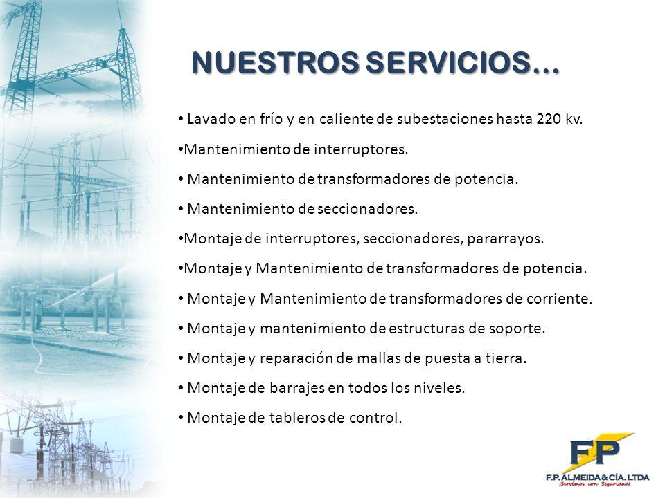 NUESTROS SERVICIOS… Lavado en frío y en caliente de subestaciones hasta 220 kv. Mantenimiento de interruptores.