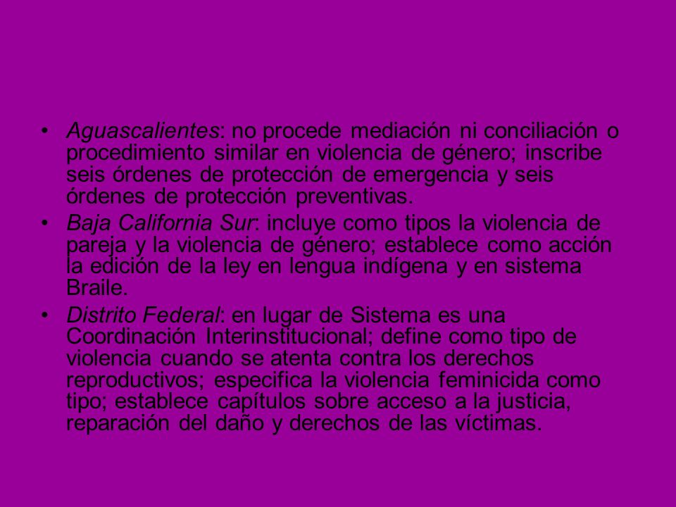 Aguascalientes: no procede mediación ni conciliación o procedimiento similar en violencia de género; inscribe seis órdenes de protección de emergencia y seis órdenes de protección preventivas.