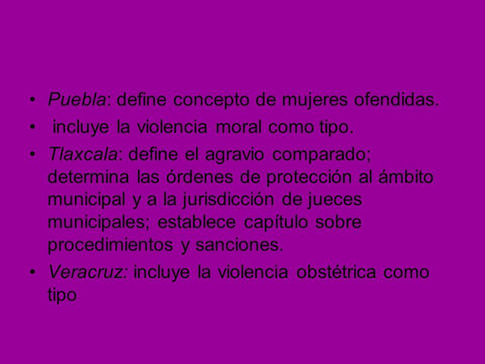 Puebla: define concepto de mujeres ofendidas.