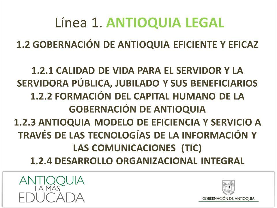 Línea 1. ANTIOQUIA LEGAL 1.2 GOBERNACIÓN DE ANTIOQUIA EFICIENTE Y EFICAZ.