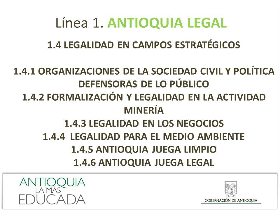Línea 1. ANTIOQUIA LEGAL 1.4 LEGALIDAD EN CAMPOS ESTRATÉGICOS