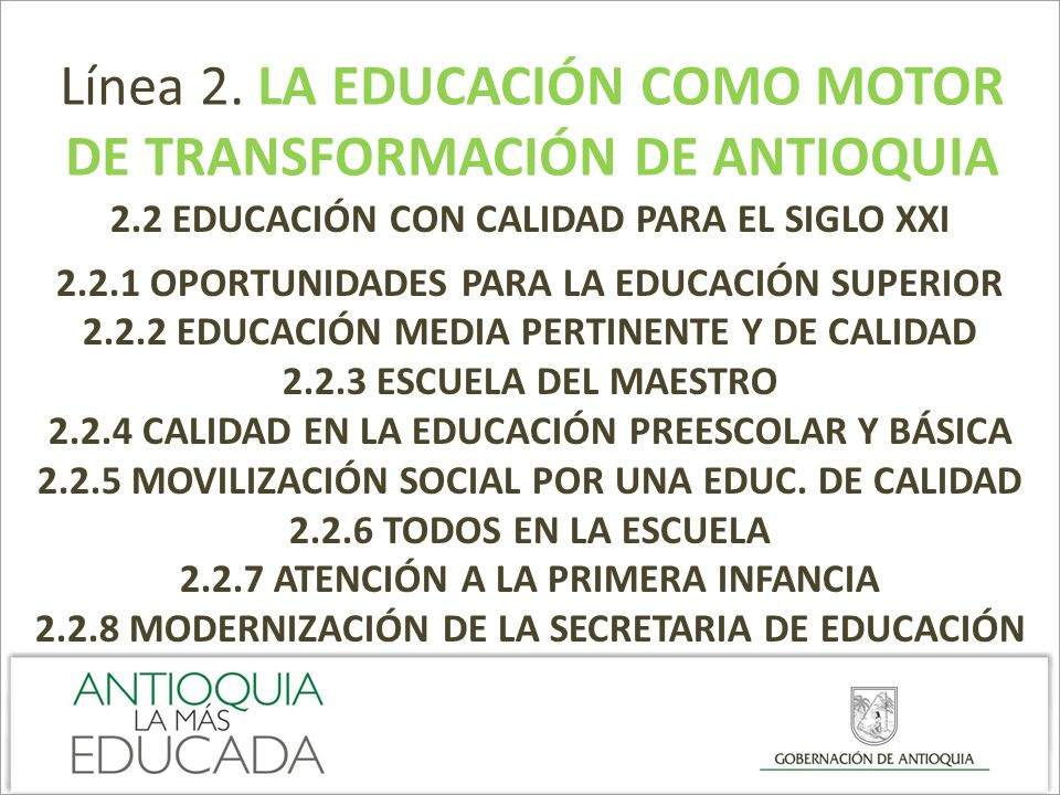 DE TRANSFORMACIÓN DE ANTIOQUIA