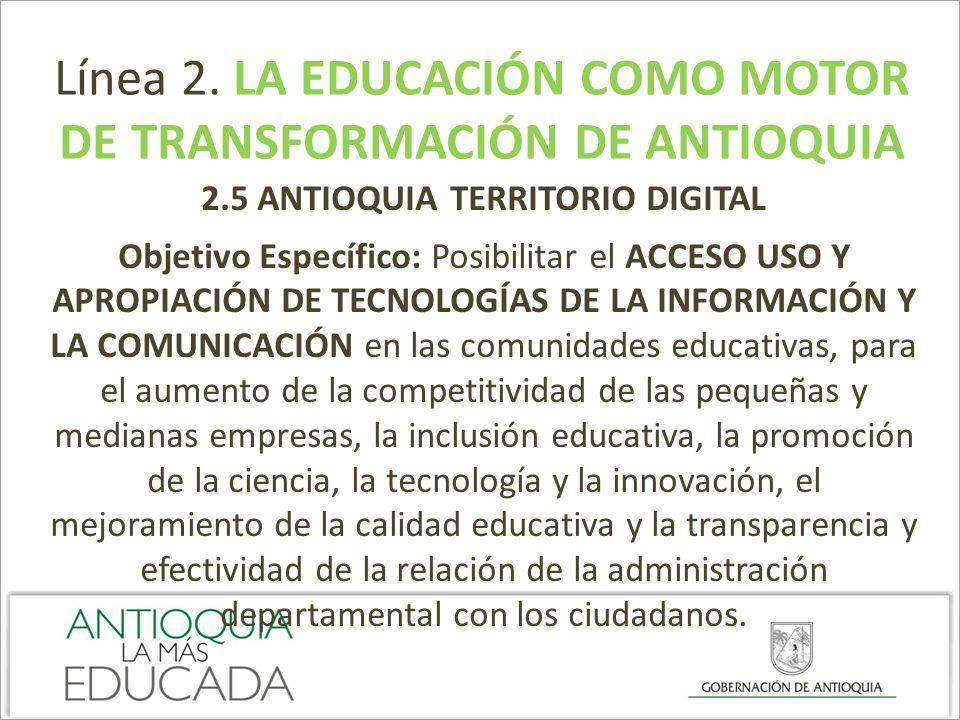 DE TRANSFORMACIÓN DE ANTIOQUIA 2.5 ANTIOQUIA TERRITORIO DIGITAL