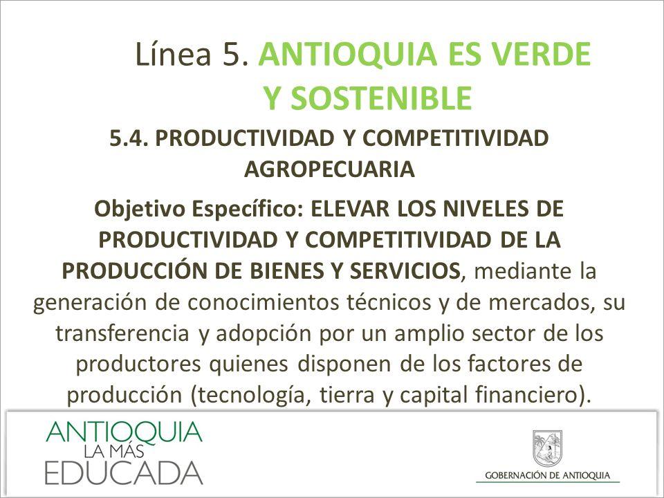 5.4. PRODUCTIVIDAD Y COMPETITIVIDAD AGROPECUARIA