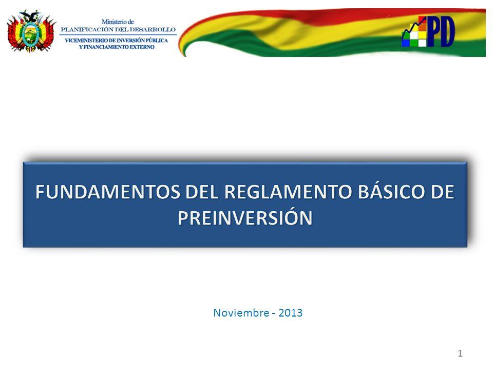 FUNDAMENTOS DEL REGLAMENTO BÁSICO DE PREINVERSIÓN