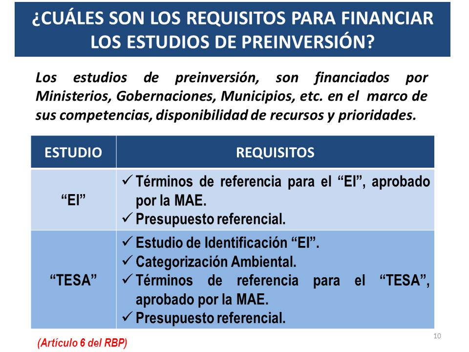 ¿CUÁLES SON LOS REQUISITOS PARA FINANCIAR LOS ESTUDIOS DE PREINVERSIÓN
