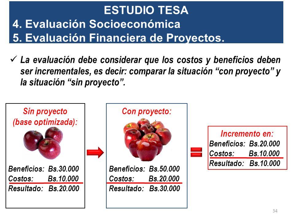 4. Evaluación Socioeconómica 5. Evaluación Financiera de Proyectos.