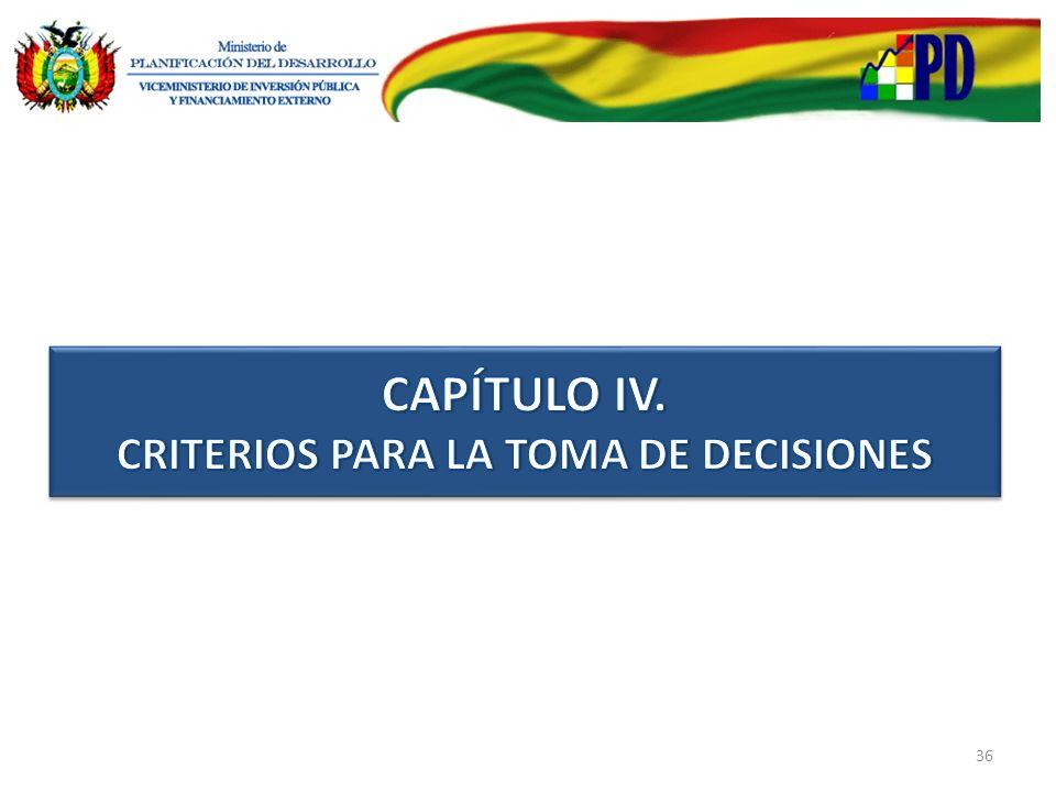 CAPÍTULO IV. CRITERIOS PARA LA TOMA DE DECISIONES