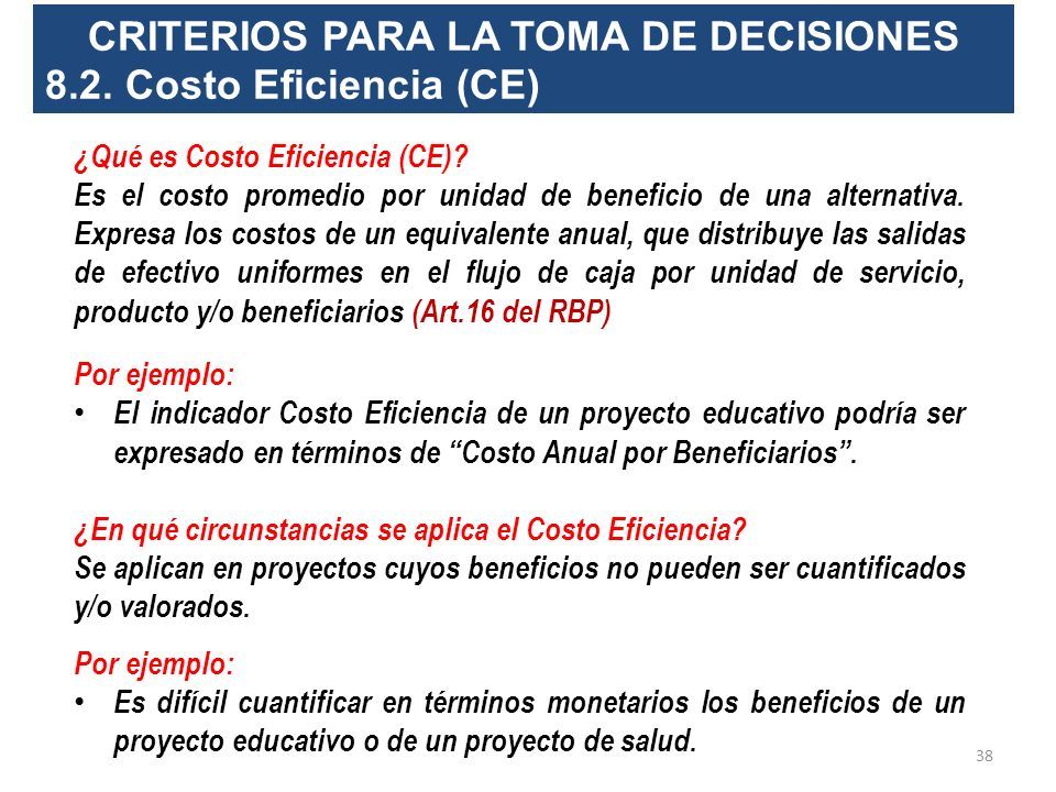 CRITERIOS PARA LA TOMA DE DECISIONES