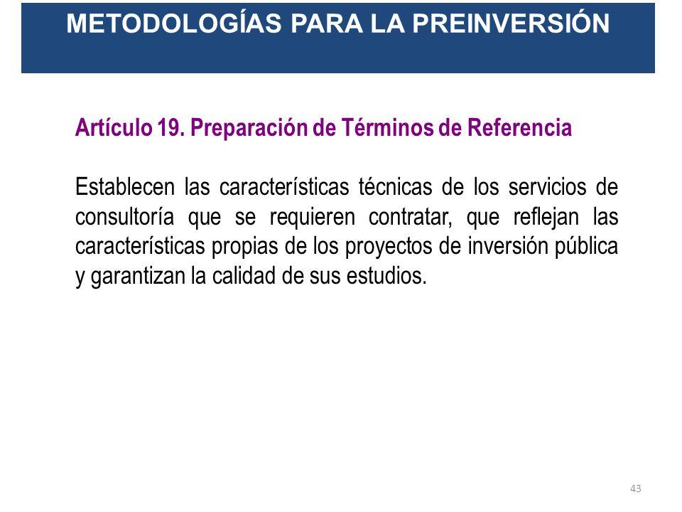 METODOLOGÍAS PARA LA PREINVERSIÓN