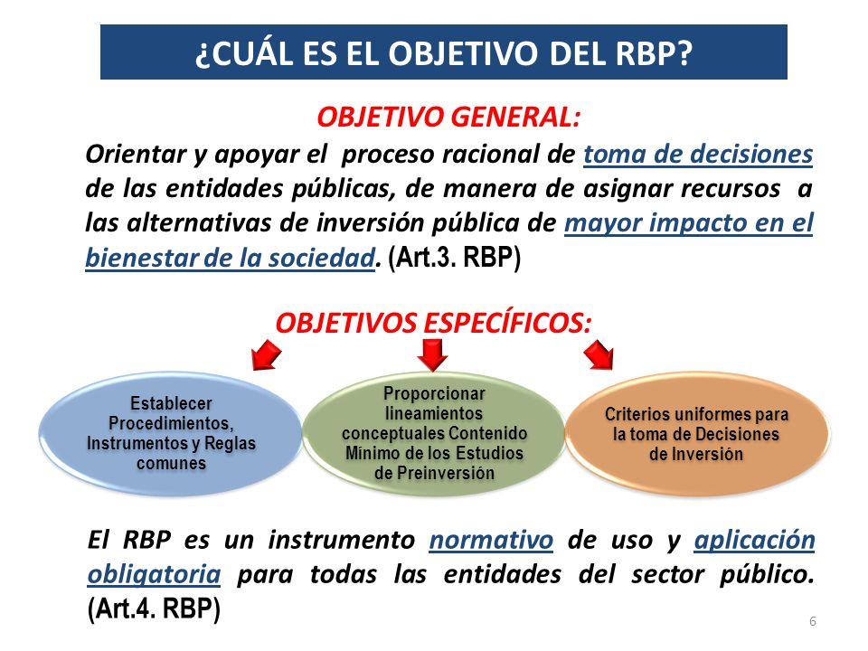¿CUÁL ES EL OBJETIVO DEL RBP OBJETIVOS ESPECÍFICOS: