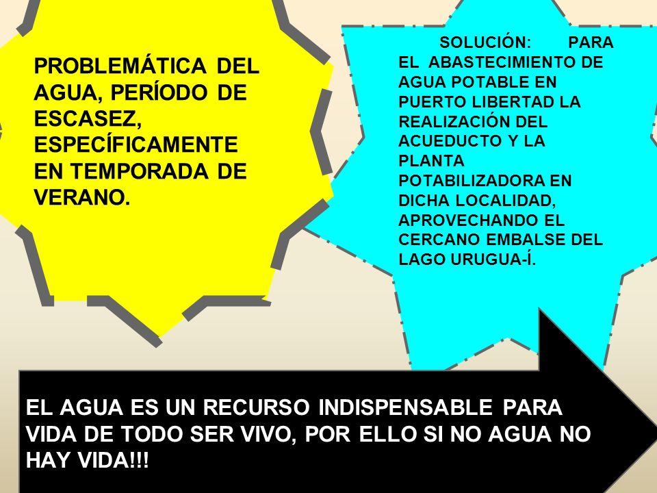 PROBLEMÁTICA DEL AGUA, PERÍODO DE ESCASEZ, ESPECÍFICAMENTE EN TEMPORADA DE VERANO.