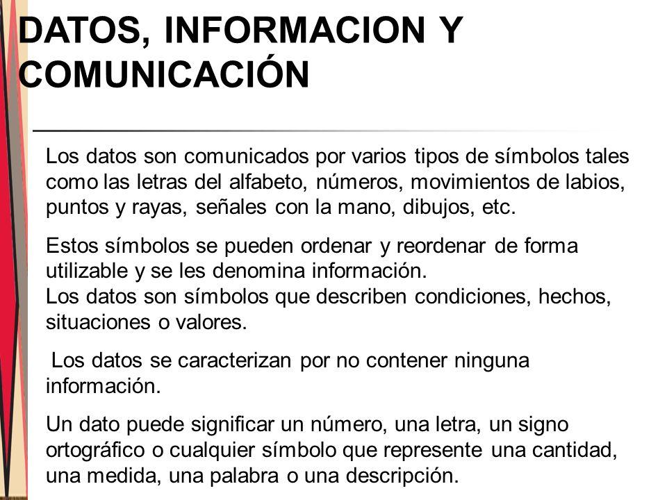 DATOS, INFORMACION Y COMUNICACIÓN
