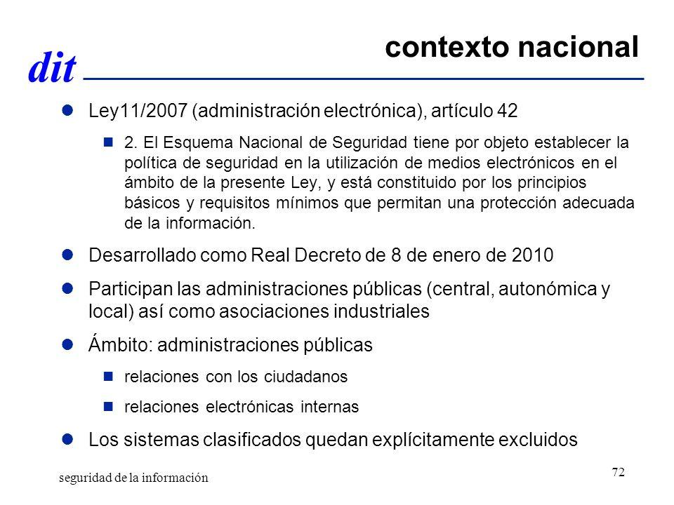 contexto nacional Ley11/2007 (administración electrónica), artículo 42