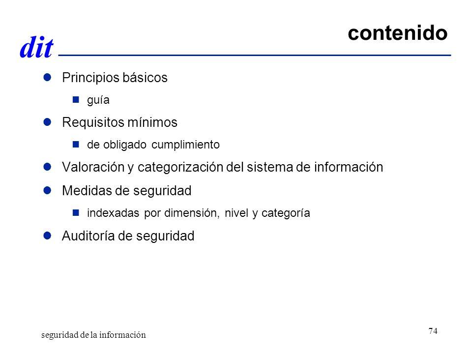 contenido Principios básicos Requisitos mínimos