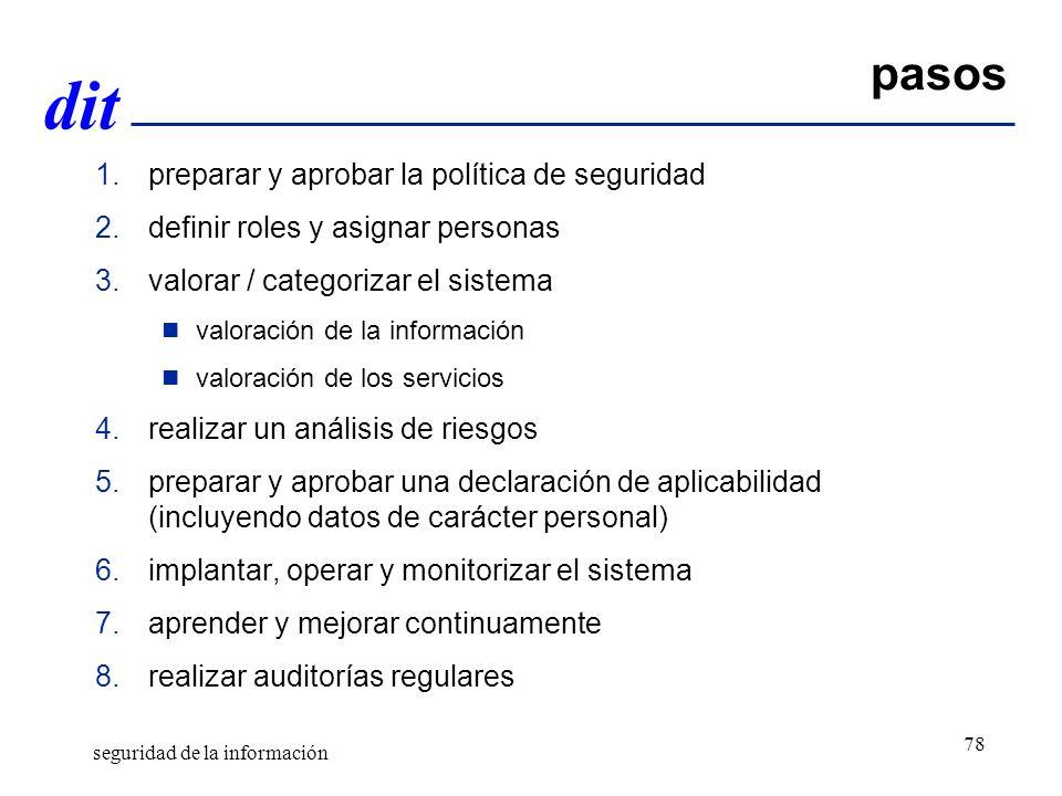 pasos preparar y aprobar la política de seguridad