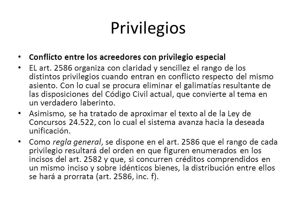 Privilegios Conflicto entre los acreedores con privilegio especial