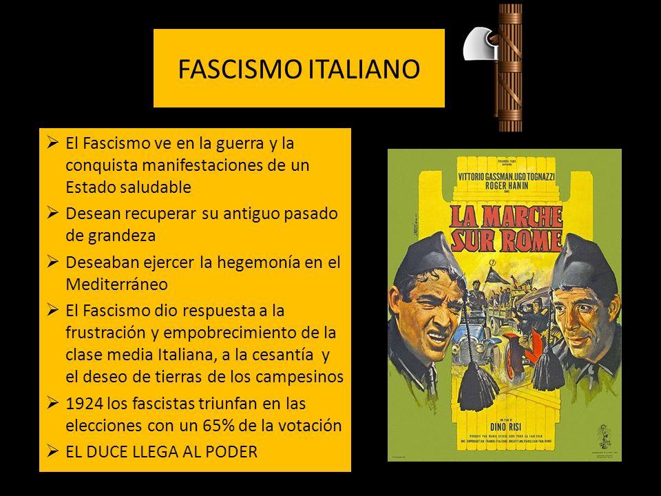 FASCISMO ITALIANO El Fascismo ve en la guerra y la conquista manifestaciones de un Estado saludable.