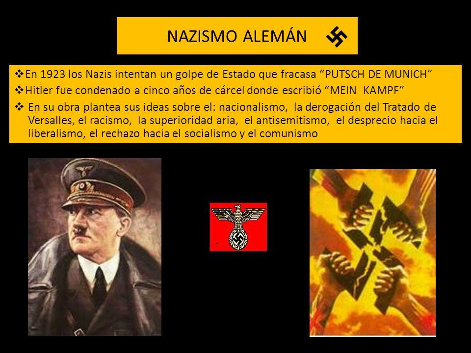 NAZISMO ALEMÁN En 1923 los Nazis intentan un golpe de Estado que fracasa PUTSCH DE MUNICH