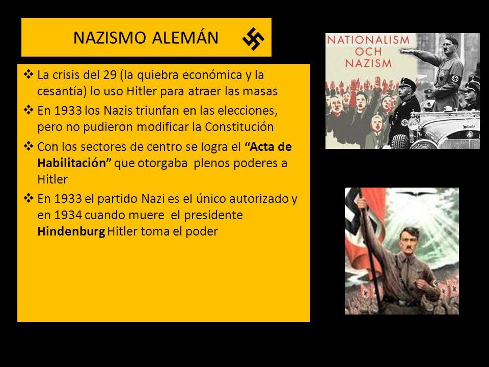 NAZISMO ALEMÁN La crisis del 29 (la quiebra económica y la cesantía) lo uso Hitler para atraer las masas.