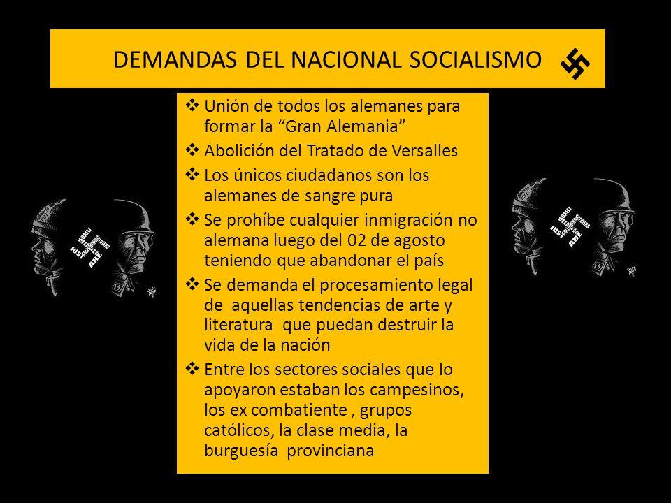DEMANDAS DEL NACIONAL SOCIALISMO