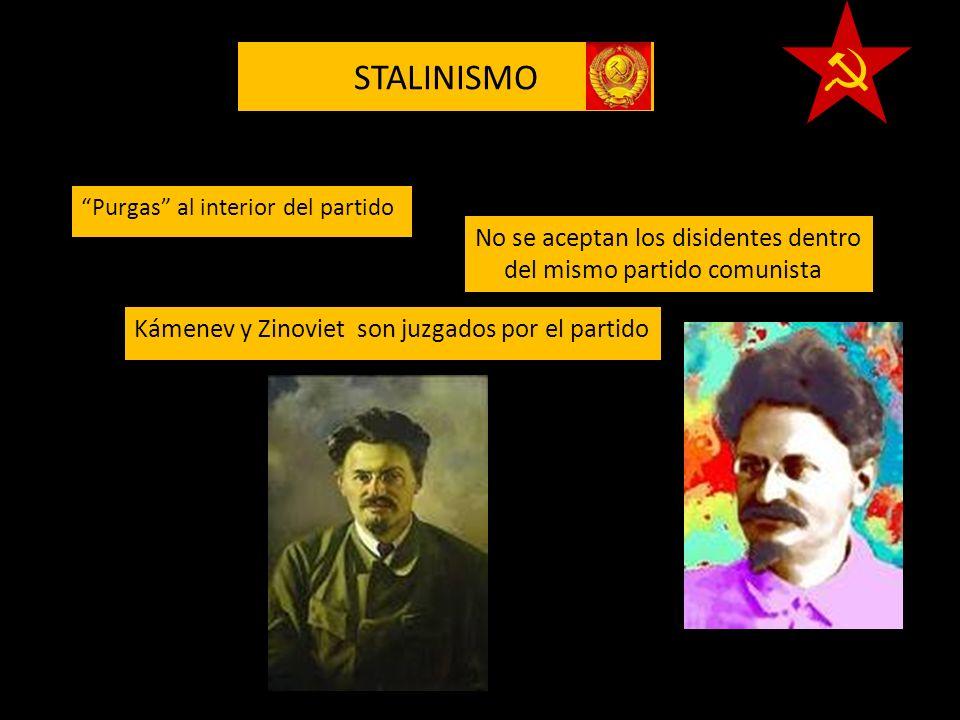 STALINISMO Purgas al interior del partido. No se aceptan los disidentes dentro del mismo partido comunista.