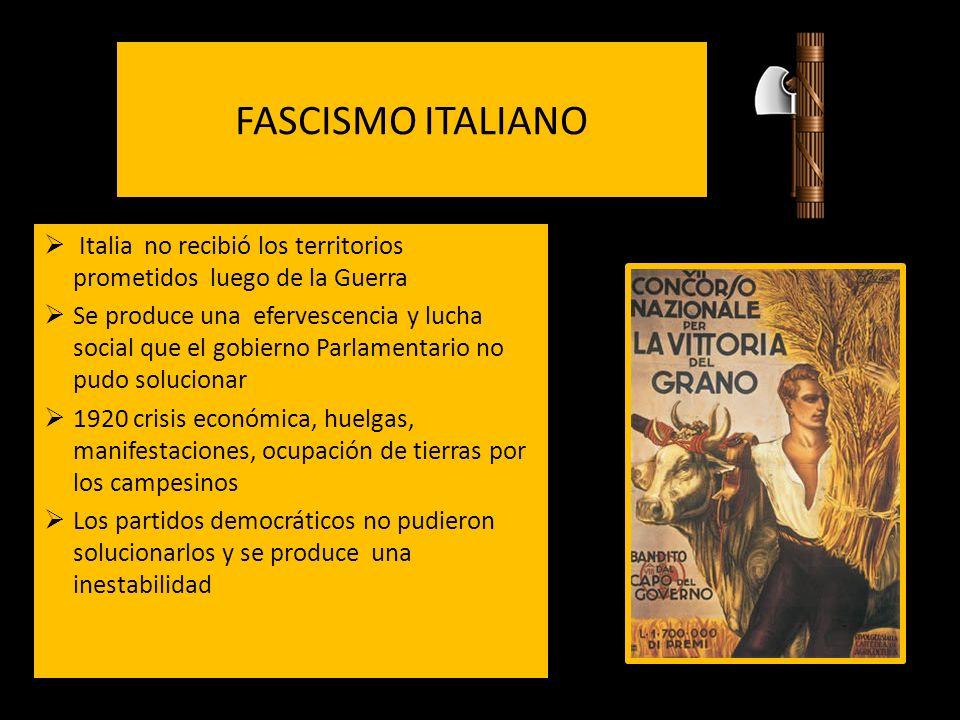 FASCISMO ITALIANO Italia no recibió los territorios prometidos luego de la Guerra.