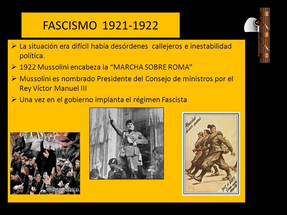 FASCISMO 1921-1922 La situación era difícil había desórdenes callejeros e inestabilidad política.