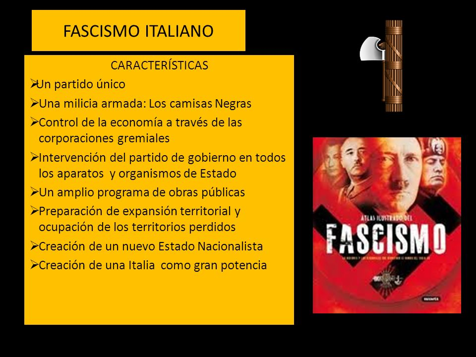 FASCISMO ITALIANO CARACTERÍSTICAS Un partido único