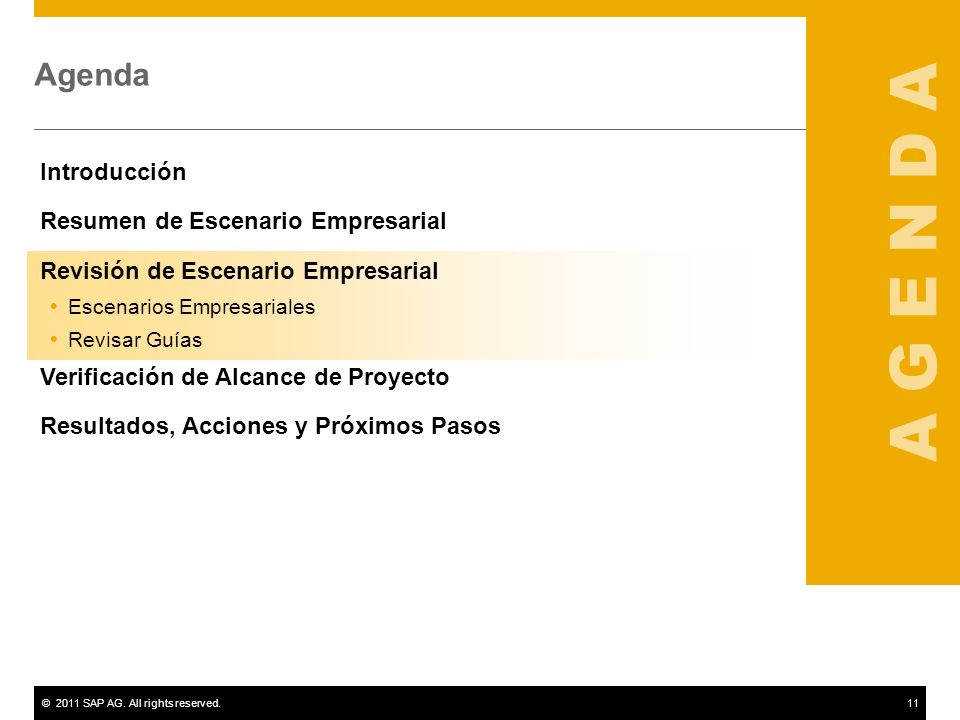 A G E N D A Agenda Introducción Resumen de Escenario Empresarial