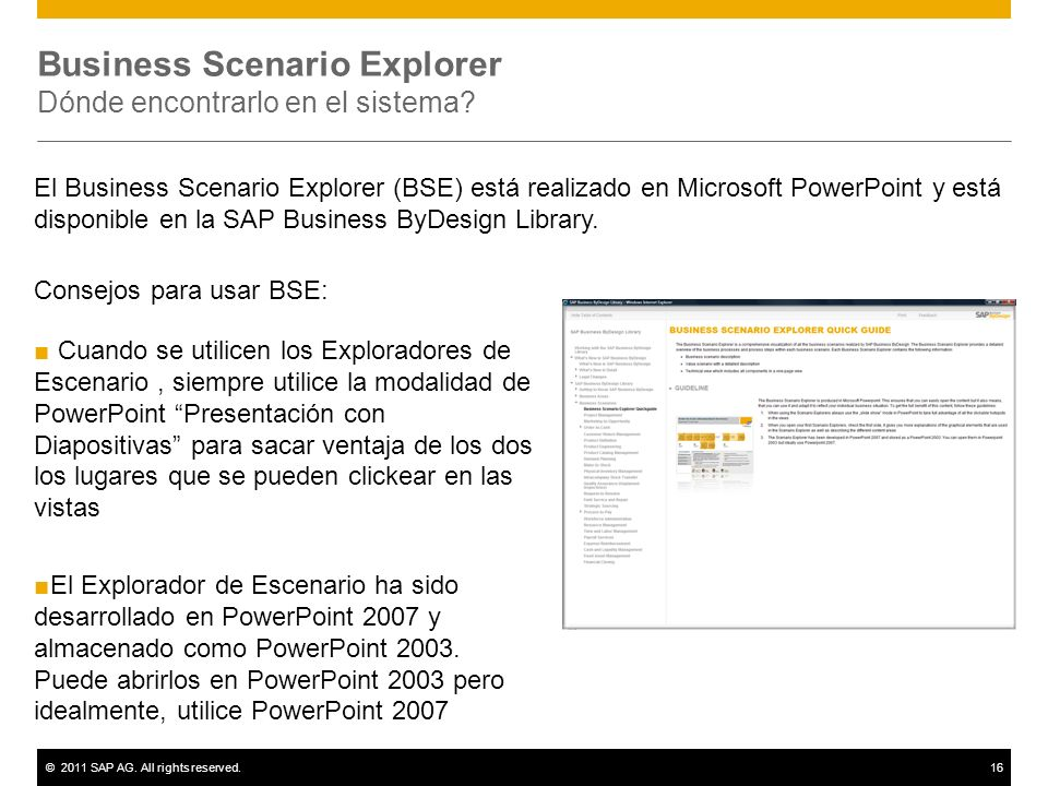 Business Scenario Explorer Dónde encontrarlo en el sistema